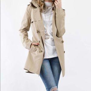 Jackets & Blazers - Light Dark khaki hooded coat